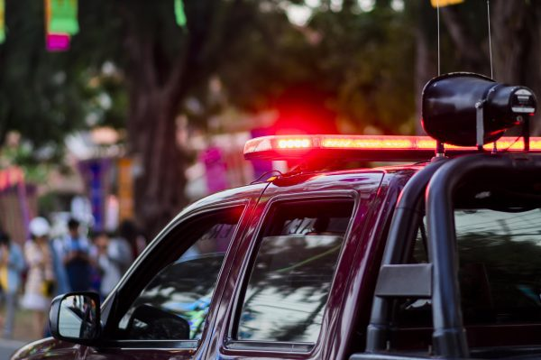 red led warning light on police